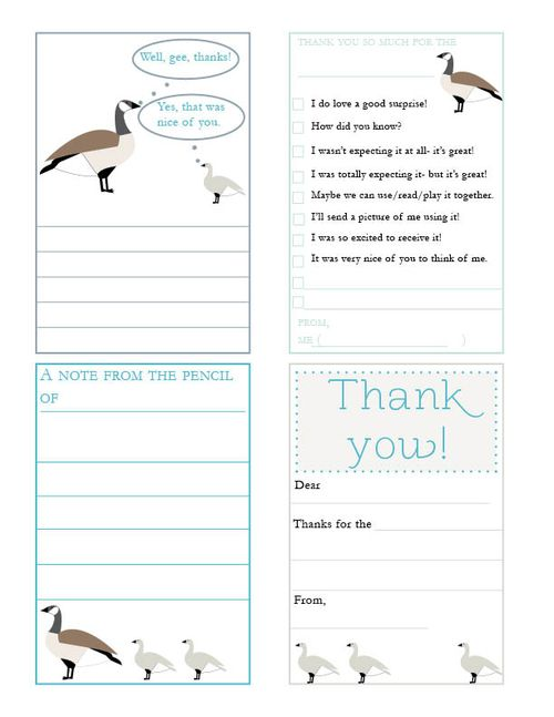 Goose thank you notes