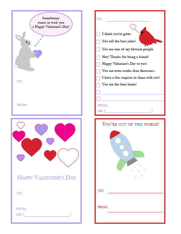 Free printable valentines with envelopes