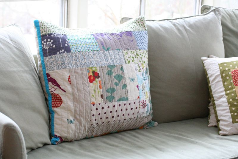 Patchwork couch pillow