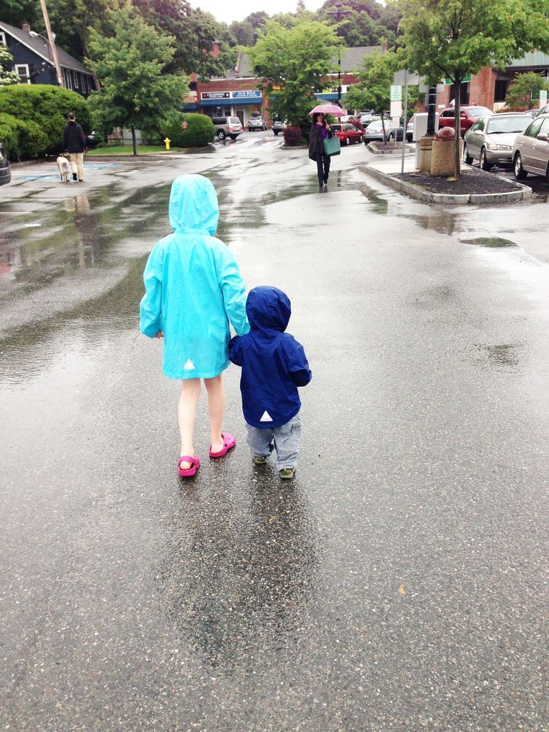 Matching raincoats