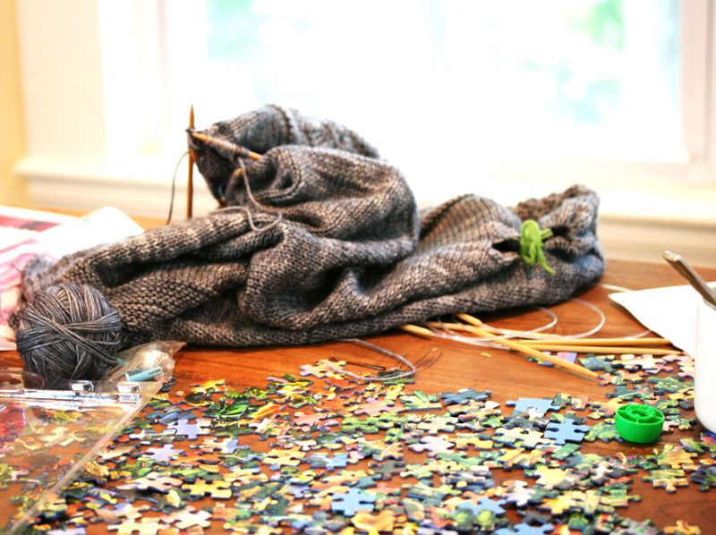 Puzzles and knittin